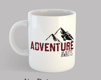 Adventure Awaits Mug, Mountain Mug, Cute Coffee Mug, Graduation Gift, Retirement Gift, Gift for Him, Gift for Her, Adventure Gift - MG1