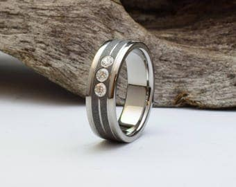 Titanium wedding band, sandblasted center with three flush set Cubic Zirconia stones, wedding band mens, titanium ring, wedding band women