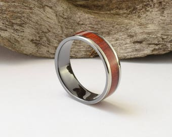 Titanium ring with rosewood inlay and a black interior, mens wedding band, mens wooden band, wood ring men wedding ring, black mens ring