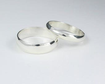 wedding band set wedding band engraved silver wedding band classic wedding ring - His And Her Wedding Ring Sets