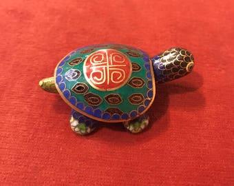 Tortoise cloisonne small box enamelled 1980s