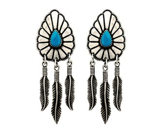 Sterling Silver Vintage Navajo Native American Earrings Turquoise Stone