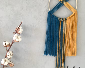 Wall hanging yellow and blue macrame