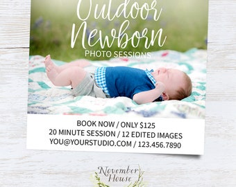 Outdoor Newborn Mini Sessions, Newborn Photography Marketing, Mini Session Template, For Photographers, Photoshop Template, Instant Download