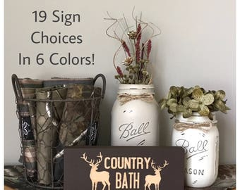 Rustic Bathroom Decor, Realtree Camo Real Tree Decor, Mason Jar Bathroom  Set, Country