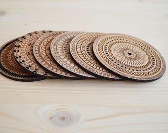 Laser engraved wooden mandala coaster set