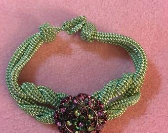 Mint Green Knot Bracelet with Purple Button