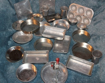 Lot of Vintage Aluminum Children's Toy Dishes, Pans & Cooking Utensils