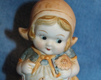 Vintage Ceramic Whimsical Girl Hummel Like Figurine