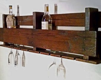 Reclaimed Pallet Wood Wine Rack and Glass Holder
