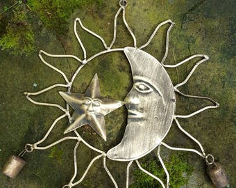 Celestial Sun, Moon and Star Windchime to remove negative energy and attract fairies