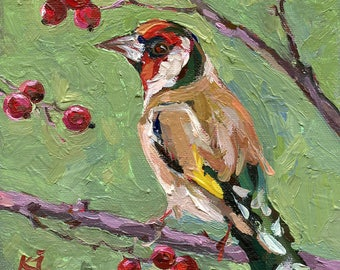 European Goldfinch 1. Original Oil Painting. 6 x 6 inch on canvas