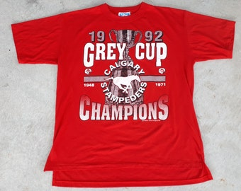 Vintage 1992 Calgary Stampeders CFL Grey Cup Champions T Shirt / Tee (XL) Made in Canada / Softwear Athletics