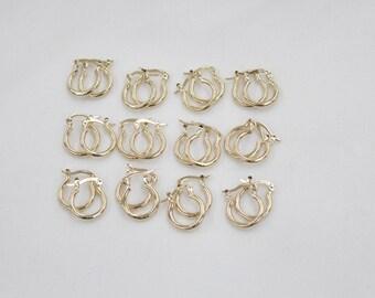 12 Pair 2x10 GOLD hoop earnings for beading, earrings for jewelry making, gold earrings for beading,
