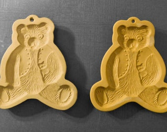 Shortbread Molds by Brown Bag Cookie Art, Vintage, ©1984 ©1985, Bear set of 2