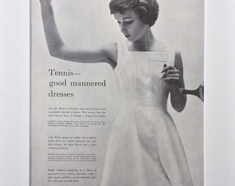 1950s Tennis Vogue Clipping Mounted Ready to Frame : British Vogue May 1958