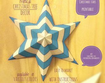 Christmas stars, DIY, printable, Christmas decor, diy Christmas ornaments, Christmas art, holiday decor, stars,4 Christmas tree, BLUE petrol