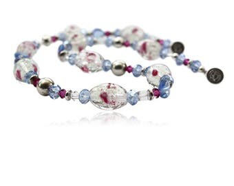 Necklace glass beads rose light blue crystals with silver balls and magnetic closure, gifts for women, sporty necklace