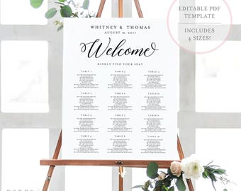 Printable Seating Chart. Seating Chart Template. Wedding Seating Chart. Seating Chart. Wedding Seating Sign. Editable Seating Chart. (BR)