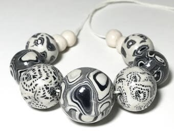 White Beads With Black Circles And Dots, Polymer Clay Beads, Ivory and Grays, Art Beads, Jewelry Beads, Handmade Round Beads, Necklace Beads