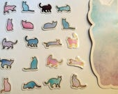 Cat Watercolour Clear Stickers with Gold. Pack of 20 designs. Planners, Scrapbooking, Journals, sticker flakes.