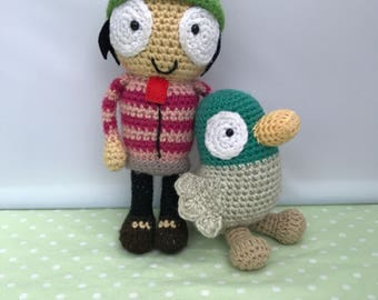 Crochet Sarah and Duck, Stuffed Doll, Amigurumi, Sarah and Duck Toy, BBC Toy