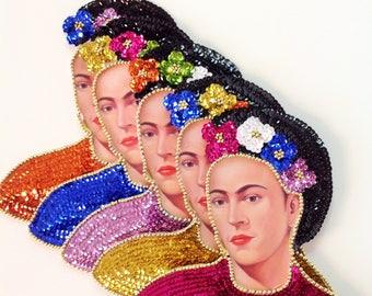 "Frida Kahlo Sequin Applique 8.5""X8"" Sequin Frida Kahlo Patch Handmade Different Colors"
