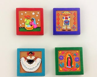"""Mexican Magnets Nativity Scene Our Lady of Guadalupe Mexican Traditional Dress Boy and Girl Nativity Set Virgen de Guadalupe 1.75x1.75"""""""