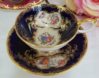 "Aynsley Cobalt Blue Cabinet ""Aristocrat"" Cup and Saucer Teacup Duo Set c1934, England"