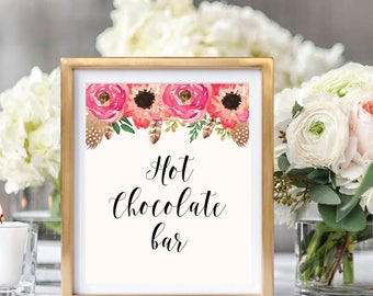 Hot Chocolate Sign, Drink Sign, Floral Wedding Sign Printable, Watercolor Boho Chic, Instant Download, #BC001