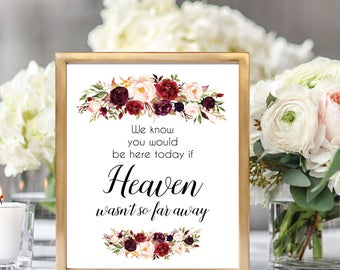 In Loving Memory Sign, Memorial Table Sign, Memorial Sign Printable, Remembrance Sign, Printable Wedding Sign, Floral Wedding, #D021
