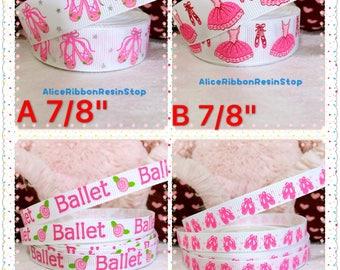 """7/8"""" 3/8"""" Ballerina ribbon, pink ribbon, Ballet ribbon, ballet shoes ribbon, ballet girl ribbon, grosgrain ribbon, Ballet hair bow ribbon"""
