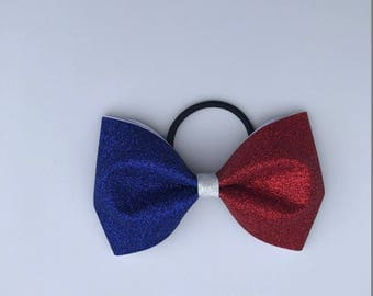 Red, White and Blue Glitter Tailless Cheer Bow