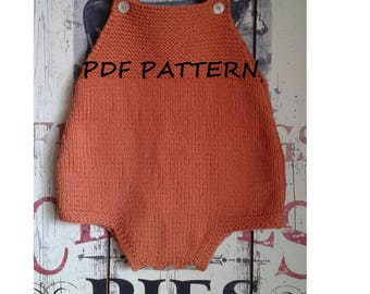 "Baby Romper Knitting Pattern ""Douro"" / PDF PATTERN / Baby Knitting Patterns / Baby Onesie Jumpsuit Overall knit pattern / Instant Download"