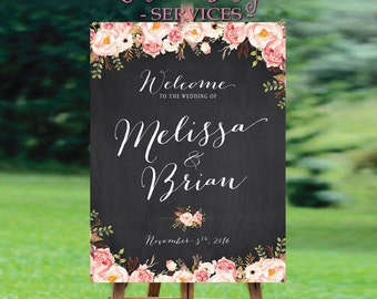 Welcome Wedding Sign, Printable Wedding Sign,  Floral Wedding Sign, Reception Sign, Customized Sign, Bohemian Wedding Sign - US_WS0105c