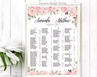 Wedding seating chart alphabetical, Wedding seating chart, Wedding Seating Chart Template , Wedding Seating chart - US_WC0303