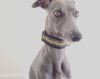 2 Designs Handmade Metallic Martingale Collars Whippets, Greyhounds, Lurchers, Italian Greyhounds and Other Large Breeds