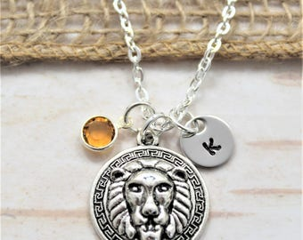 Lion Head Necklace - Stainless Steel Lion Jewelry - Lion Charm Necklace - Personalized Lion Necklace - Lion Lover Gift - Silver Lion Jewelry