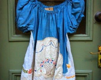 Vintage Silk Peasant Top Embellished Doilies Linens