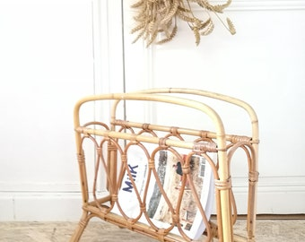 Magazine rack, vintage rattan newspaper holder