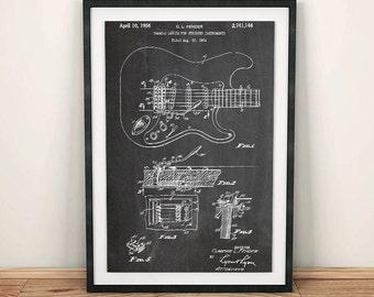 Fender Electric Guitar Patent Art Poster