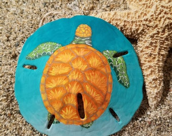 Orange Sea Turtle Sand Dollar Ornament