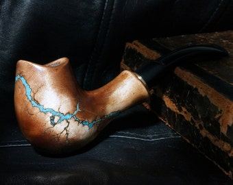 """Smoking pipe """"Lightning"""" with Turquoise -Tobacco smoking pipe-Exclusive Wood Pipe -Smoking bowl - Wood carved smoking pipes- Christmas gift"""