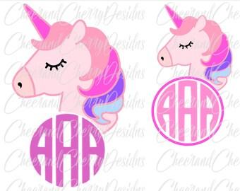 Unicorn SVG Unicorn Monogram SVG Unicorn face svg Unicorn head svg Unicorn Birthday svg Unicorn Clipart shirt Cut File for cricut Silhouette