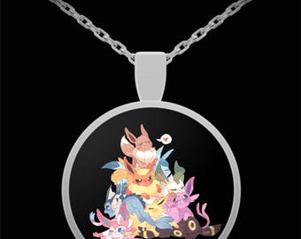 EEVEE Evolutions Necklace Sylveon, Jolteon, Flareon, Espeon, Umbreon Vaporeon, Glaceon Stylish Sci-Fi Fantasy Manga Anime Gift Jewelry