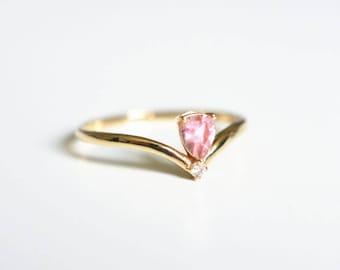 Pink Tourmaline Engagement Ring 18K Rose Gold Ring Diamond Tourmaline Engagement Ring 14k Gemstone Wedding Gemstone Engagement