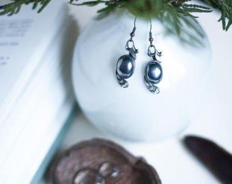 Vintage Earrings - Hematite Earrings - Festival Earrings - Vintage Jewelry - Recycled Earrings - Repurposed Jewelry - Jewelry Gift