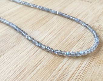 Long Labradorite Necklace, Hill Tribe Silver Necklace, Labradorite Jewelry, Beaded Necklace