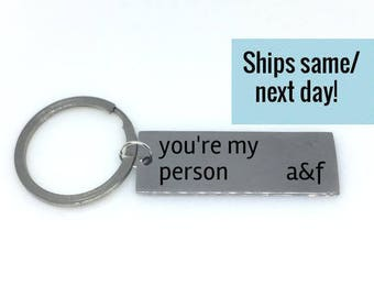 You're My Person, Couple Keychain, Initial Keychain, Letter Keychain, Engraved Keychain, Custom Keychain, Customized Keychain, Gift for Her