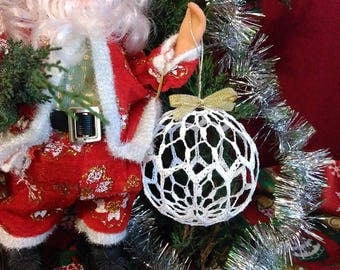 Lace Crochet Ball, White Christmas Ball, Christmas Decor, Handmade Idea.